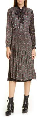 Junya Watanabe Mixed Floral Long Sleeve Midi Dress