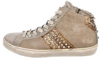 Leather Crown Canvas High-Top Sneakers