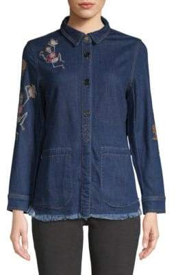 Zadig & Voltaire Tackle Embroidered Denim Button-Down Shirt