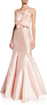 Badgley Mischka Strapless Mikado Mermaid Gown w/ Origami Flower Detail