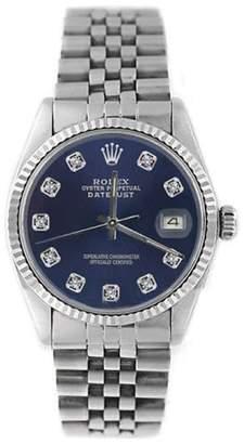Rolex Datejust 16014 Stainless Steel Blue Diamond Dial 18K Gold Fluted Bezel Mens Watch