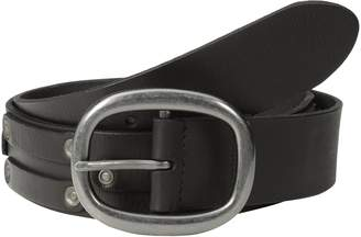 John Varvatos Men's 38mm Leather Belt with Harness Buckle and Stud