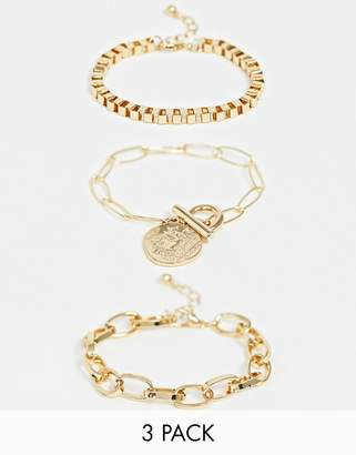 Asos DESIGN pack of 3 bracelets with open link and box chain and worn coin charm in gold tone