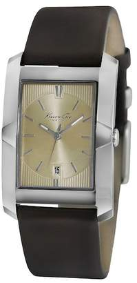 Kenneth Cole New York Men's 3 Hand Leather Strap Watch, 43.5mm