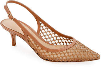 9ab2ce1bc286 Gianvito Rossi Slingback Fishnet Pointed Pumps