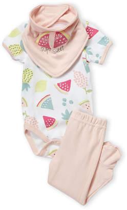 Baby Essentials Chick Pea (Newborn Girls) 3-Pack Bib, Bodysuit & Footed Pant Set