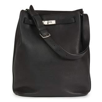 Hermes So Kelly Black Leather Handbag