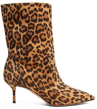 Aquazzura Very Boogie 60 Leopard Print Suede Boots - Womens - Leopard
