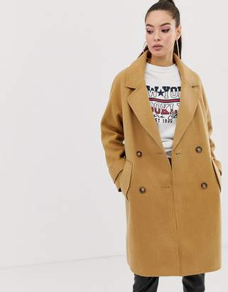 Missguided cocoon coat in camel