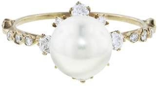 Kataoka Diamond Framed Pearl Ring