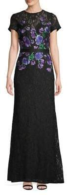 Tadashi Shoji Embroidered Floral Lace Short-Sleeve Gown