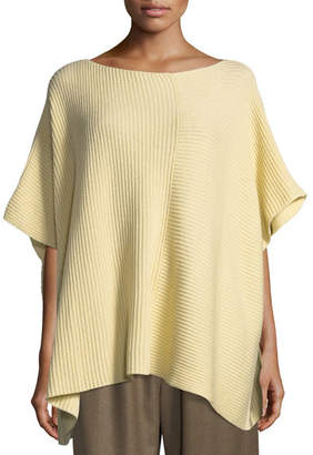 eskandar Hand-Loomed Ribbed Knit Square Cashmere/Cotton Panelled Caftan
