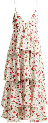 DODO BAR OR Gian tiered floral-print stretch-crepe dress