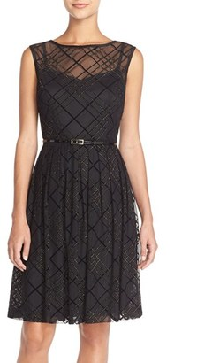 Women's Ellen Tracy Plaid Mesh Fit & Flare Dress $128 thestylecure.com