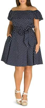 City Chic Plus Sweet Polka-Dot Off-the-Shoulder Dress