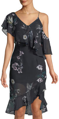 Madisonne Asymmetric One-Shoulder Ruffled Chiffon Dress