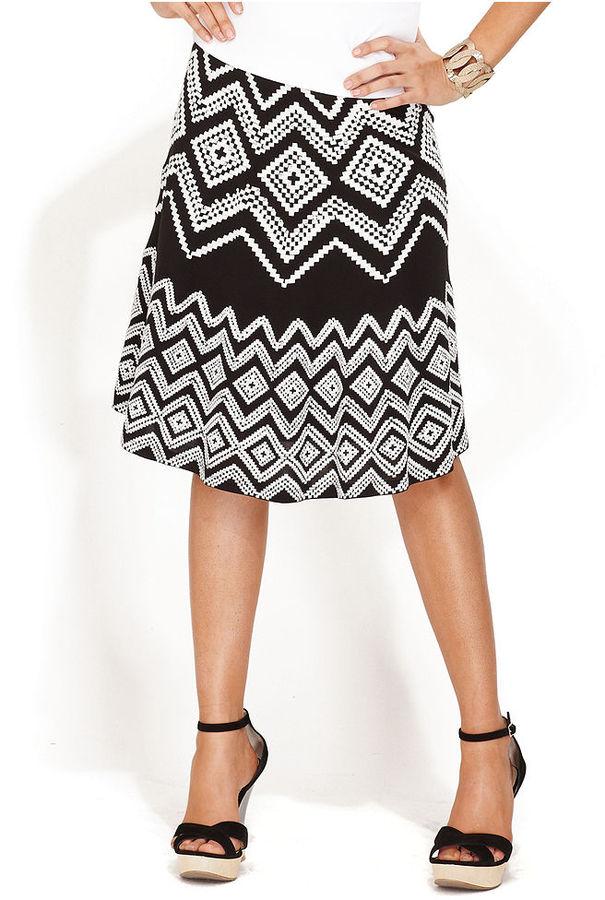 INC International Concepts Skirt, A-Line Embroidered Rhinestone