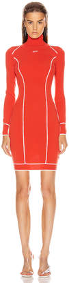 Off-White Off White Knit Athletic Turtleneck Dress in Red & White | FWRD