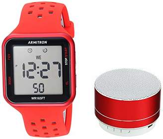 Armitron Sport Armitron Unisex Sport 40/8448RDRDST Grey Accented Digital Chronograph Silicone Strap Watch and Mini Bluetooth Speaker