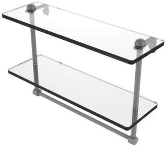 Allied Brass 16 Inch Two Tiered Glass Shelf with Integrated Towel Bar