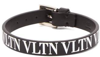 Valentino Vltn Leather Bracelet - Mens - Black