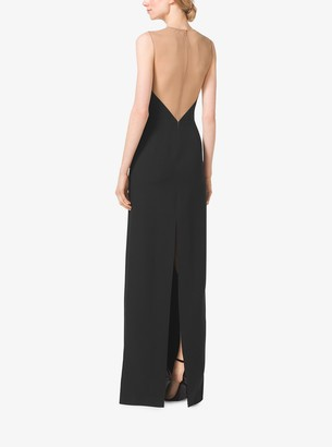 Michael Kors Bustier Illusion Double Crepe-Sable Gown