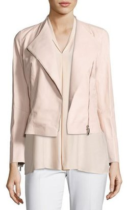 Lafayette 148 New York Brianna Embossed Lambskin Moto Jacket, Bright Pink $998 thestylecure.com