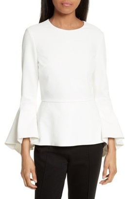 Women's Alice + Olivia Ruby Bell Sleeve Peplum Top $330 thestylecure.com