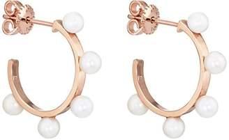 LODAGOLD Women's Pearl Hoop Earrings