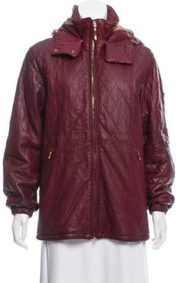 Post Card Hooded Leather Jacket Red Hooded Leather Jacket