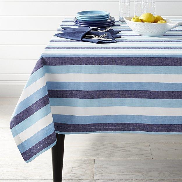 Crate & BarrelSeaside Blue Striped Tablecloth