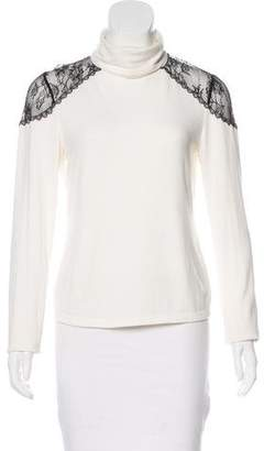 Alice + Olivia Lace-Trimmed Turtleneck Sweater