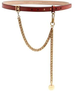 Givenchy - Chain Detail Leather Belt - Womens - Red