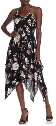 Luna Chix LUNACHIX Floral Tie Waist Handkerchief Hem Midi Dress