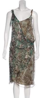 John Galliano Printed Midi Dress