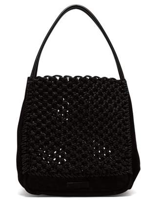 Proenza Schouler Macrame L Waxed Cotton And Suede Tote Bag - Womens - Black