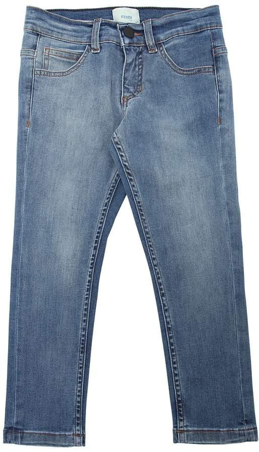 Stretch Cotton Denim Jeans W/ Logo Patch