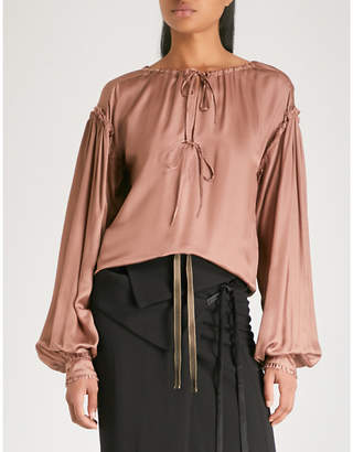 Ann Demeulemeester Tie-detail satin blouse