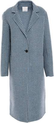 Sandro Checked Wool And Cotton-blend Felt Coat