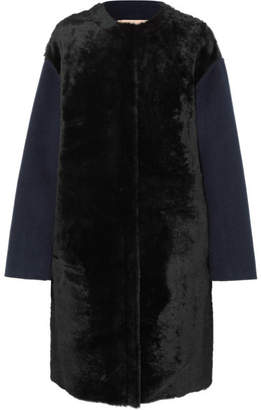 Yves Salomon Oversized Shearling-paneled Wool And Cashmere-blend Coat - Navy