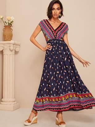 Shein Tribal Print High Waist Flowy Maxi Dress