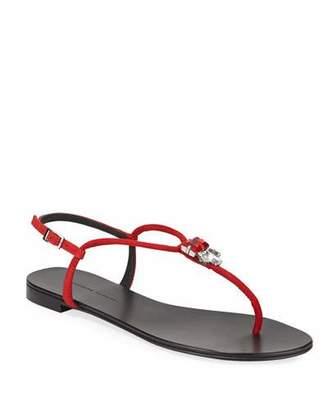 4a24473d4f1 Giuseppe Zanotti Jeweled Suede Flat Thong Sandals