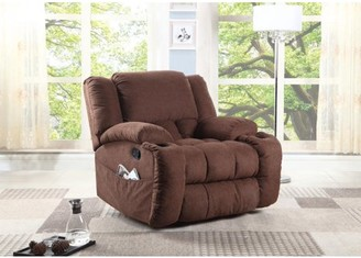 Nathaniel Home Plush Microfiber Recliner, Chocolate