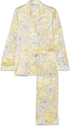 Olivia von Halle - Aila Floral-print Silk-satin Pajama Set - Yellow