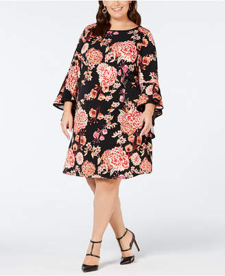MSK Plus Size Floral Printed Bell-Sleeve A-Line Dress