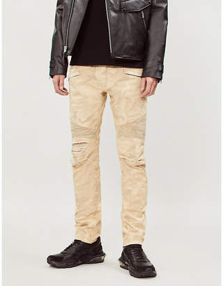 Balmain Camouflage-print ripped slim-fit tapered jeans