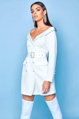 boohoo Premium Off The Shoulder Blazer Dress