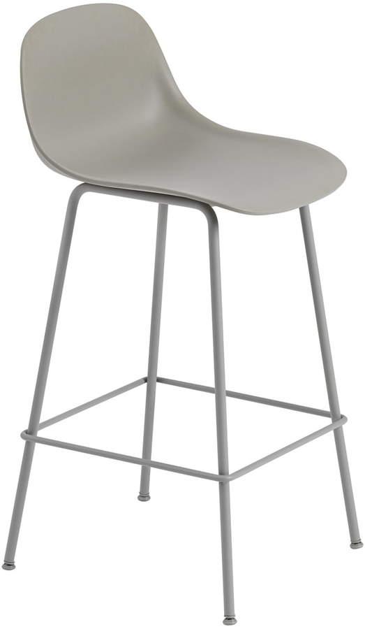 Muuto - Fiber Barhocker mit Rückenlehne, Metallgestell H 65 cm, Grau / Grau