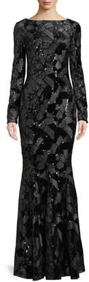 Talbot Runhof Lorena Long-Sleeve High-Neck Sequined Stretch-Velvet Evening Gown