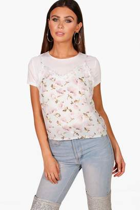 boohoo Petite Emma 2 in 1 Cami and T-shirt